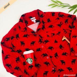 [Sleep Sense] Red Moose Print Flannel Sleep Shirt